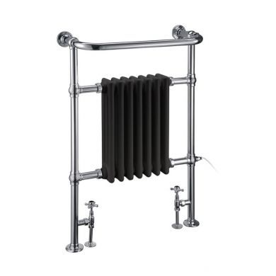Burlington Trafalgar Traditional Chrome Towel Radiator With Black Columns