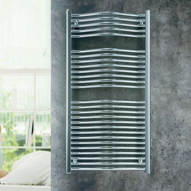 Eucotherm Bacchus Chrome Vertical Chrome Towel Radiator - 1172x600mm