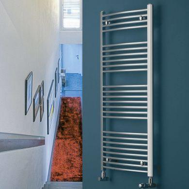 Eucotherm Chromo Curved Vertical Chrome Towel Radiator - 916x450mm