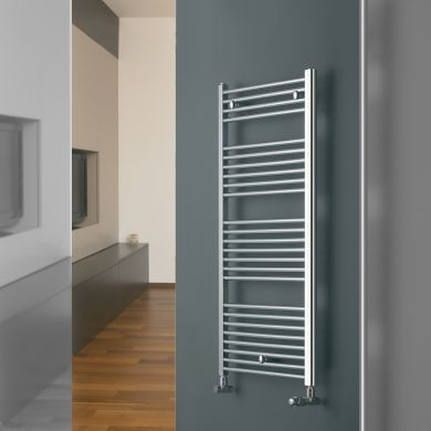 Eucotherm Chromo Straight Vertical Chrome Towel Radiator - 916x450mm