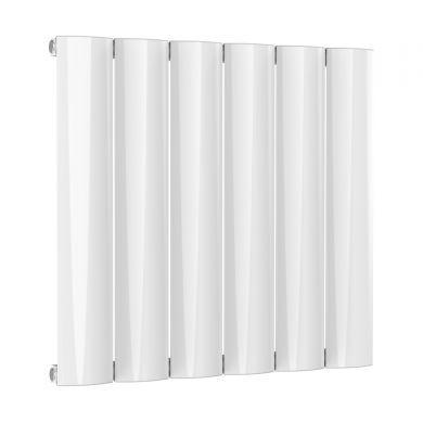 Reina Belva Horizontal Single White Designer Aluminium Radiator 600x620mm