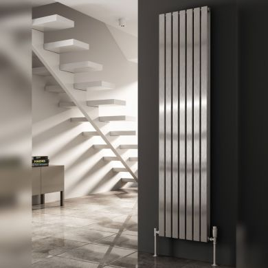 Reina Flox Vertical Double Polished Stainless Steel Designer Radiator 1800x295mm