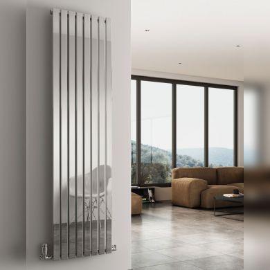 Reina Flox Vertical Single Polished Stainless Steel Designer Radiator 1800x295mm